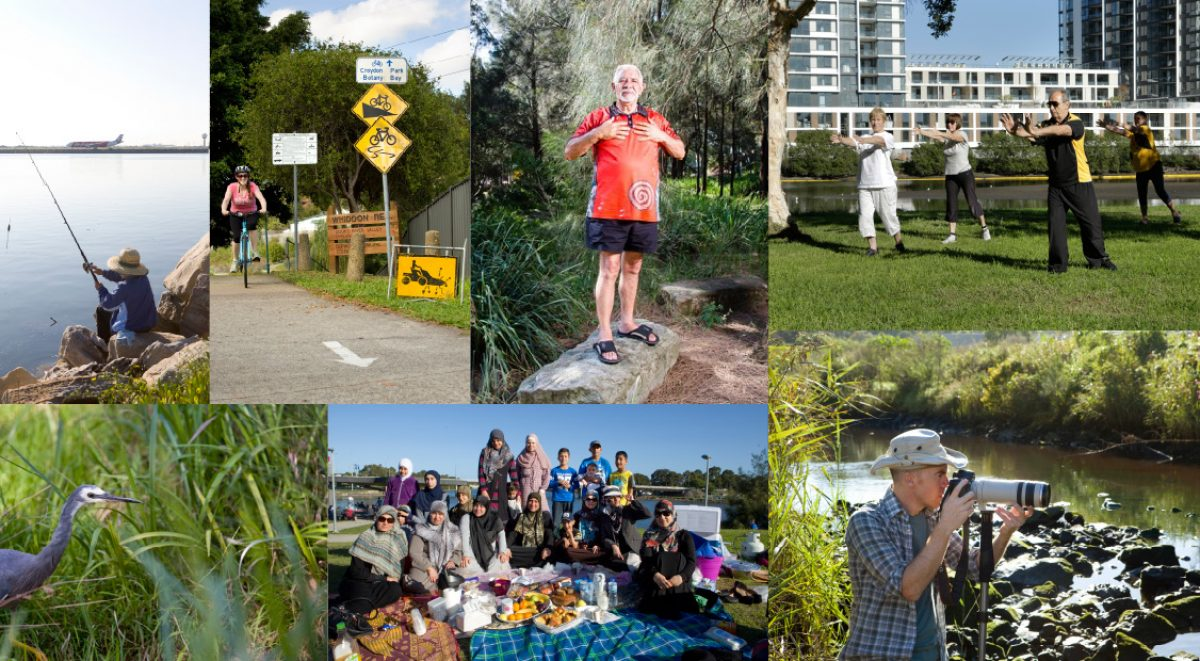 A collage of multiple people and activities taking place beside the Cooks River