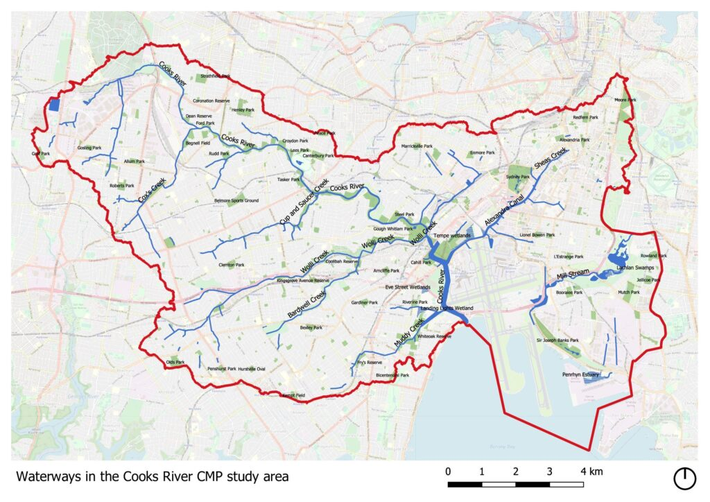 Waterways in the Cooks River CMP study area
